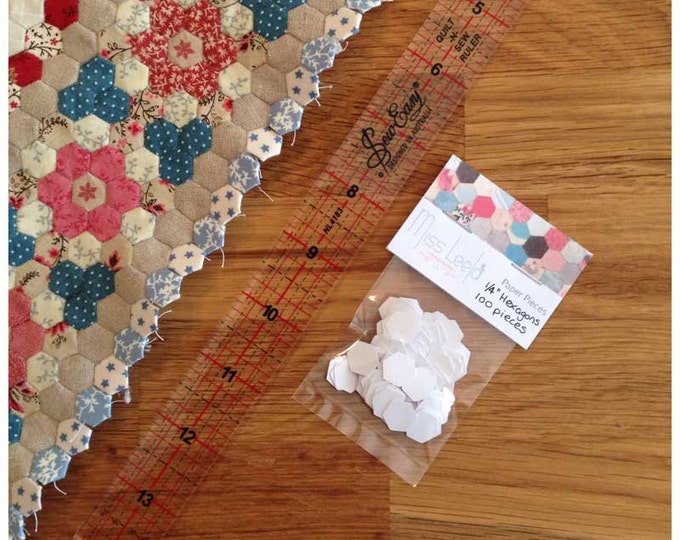 100 Quarter Inch Hexagon Paper Pieces - English Paper Piecing - Patchwork Quilting