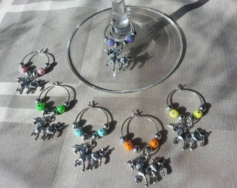 Set of six - Unicorn wine charms