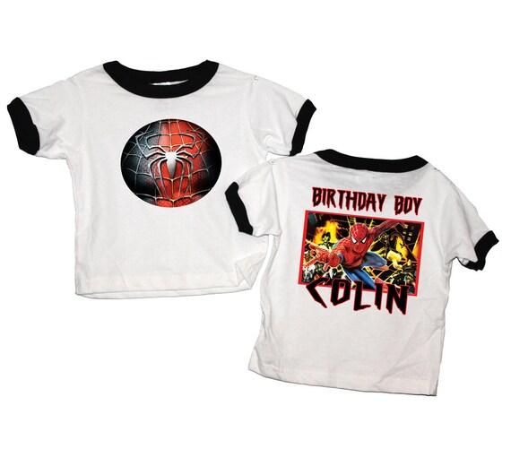 Spiderman Birthday Black or Red Ringer T Shirt Personalized - Peter Parker, hero, marvel