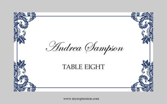 wedding place cards template folded navy damask instant. Black Bedroom Furniture Sets. Home Design Ideas