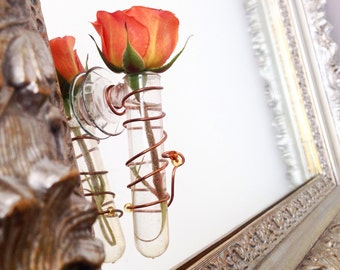 Flower Bud Vase single  tube / suction cup. Great Spring time or I love you gift.