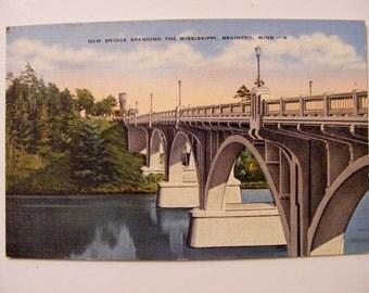 Brainerd Mn Minnesota Bridge on Mississippi River Vintage Postcard