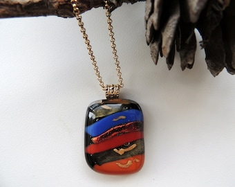 fused glass necklace,gold fused glass necklace,blue red necklace,one of a kind necklace,dichroic pendant,