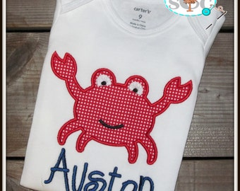 Personalized Red Gingham Crab Shirt/Bodysuit