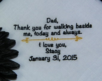 SPECIAL PRICE - Father of Bride Personalized Wedding Handkerchief and Gift Box