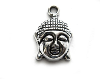 6 Silver Buddha Head Charms - Buddhist Charm