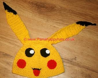 Hand Crocheted Pikachu Hat