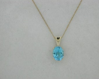 Natural Blue Topaz Pendant Solid 14kt Yellow Gold