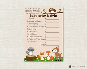 Price is Right Baby Shower Game - Woodland Animal Theme, Baby Shower Price is Right, Baby Price is Right, Price is Right Game, Printable
