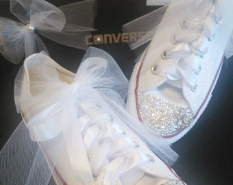 Wedding Converse, Bridal Shoes, Bridal Sneakers, Wedding Sneakers, Bling Shoes, Bling Sneakers, Wedding, Bling Converse, Custom Sneakers,