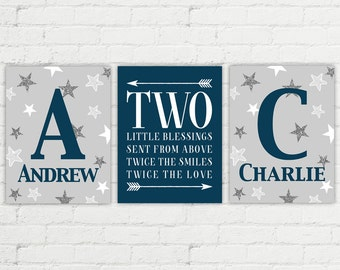 twin boys nursery art with stars | brothers nursery art | two blessings from above | navy and gray twins room decor | twin boys baby gift