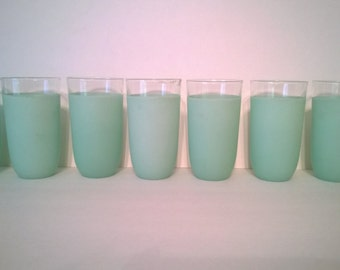 Mid Century Libby Mint Frosted Tumbler