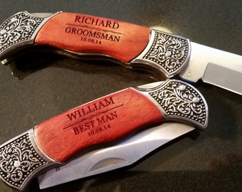 5 Groomsman Gift personalized engraved knives