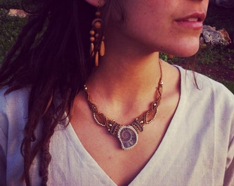 Ammonite necklace Tribal collar energy stone and brass beads art of goddess