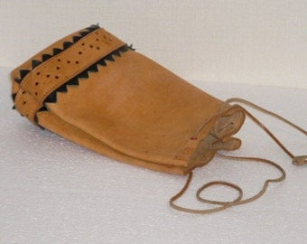 Vintage Genuine Leather Pouch Bag, Natural Leather Handmade, Soft Leather Pouch @81