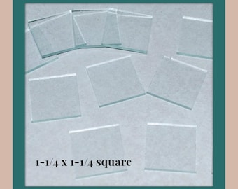30 Pack 1-1/4 x 1-1/4 Clear Glass Squares