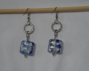 Silver and blue dangling earrings