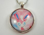 Sylveon Pokemon Necklace OR Keychain - Upcycled Pokemon Card Pendant - Silver Pendant w/Chain - Sylveon Necklace - Pokemon Card Necklace