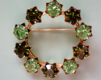 Circle of Life Green Rhinestone Pin - 3535
