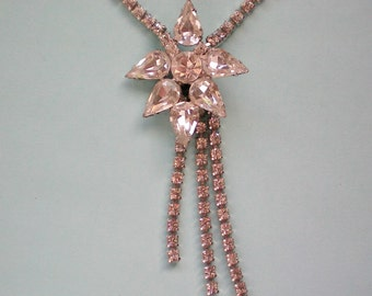 Rhinestone Pear Shaped Flower Necklace - 3808