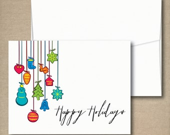 Christmas Cards, Holiday Card Set, Personalized Holiday Cards - Holiday Ornaments
