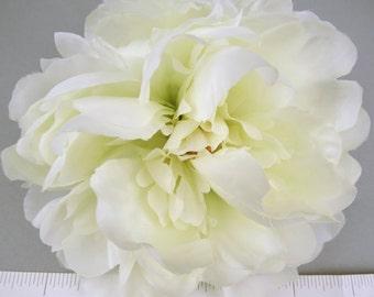1 pc Ivory Peony Silk Flowers For Headbands Hats Hair Clips