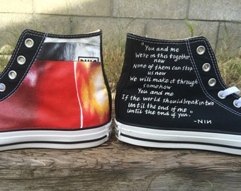 Custom Nine Inch Nails (NIN) Fragile album art with lyrics on Converse.