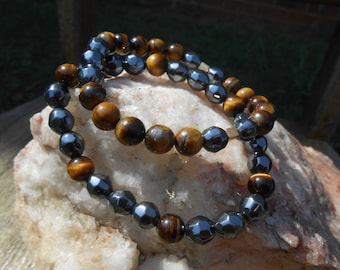 Tigerseye and Hematite Stackable Stretch Bracelets