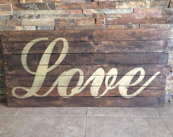 Pallet Love Sign or Custom Sign Rustic Alternative Wedding