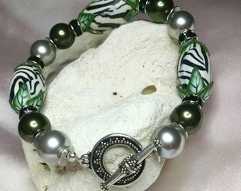 Animal Print and Pearls with Antiqued Silver Toggle Bracelet embellished with crystals from Swarovski®