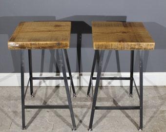 Set of 2 Bar Stools - Urban Reclaimed Wood Industrial modern Bar Stool-Hademade Salvaged Barn wood
