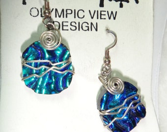 Blue Fused Dichroic glass