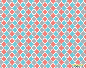 Coral, grey, aqua and white quatrefoil craft  vinyl sheet - HTV or Adhesive Vinyl -  quarterfoil pattern   HTV1407