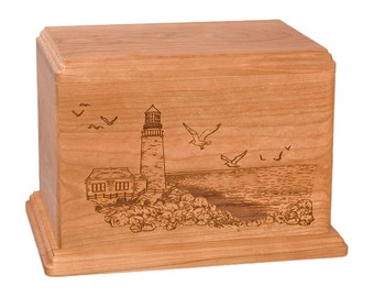 Cherry Lighthouse Wood Cremation Urn
