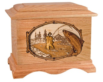 Oak Salmon Fishing Stream Ambassador Cremation Urn