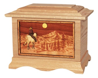 Oak Horse and Rider on Mountain Ambassador Wood Cremation Urn