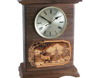 Walnut Deer Ambassador Clock Wood Cremation Urn
