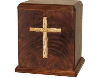 Walnut Cross Wood Cremation Urn