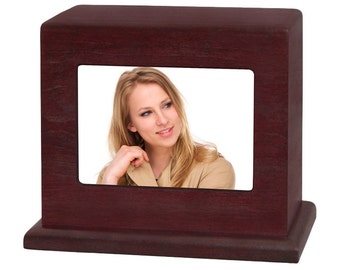 Rosewood Small Photo Wood Cremation Urn