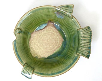 Handmade Pottery River Flow Glazed Fish Bowl Large
