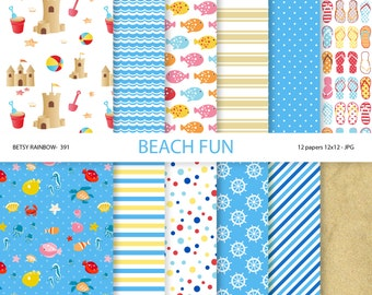 Beach Digital Paper Pack, beach digital papers, sandcastle, fish, sand, summer, instant download - BR 391