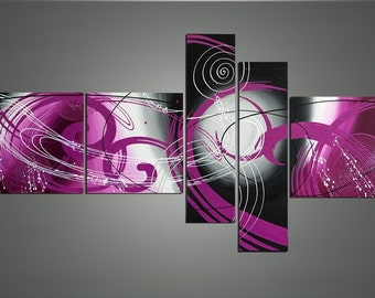 handmade 5 panel pink modern abstract oil painting on canvas wall art pictures for living room framed ready to hang as unique gift