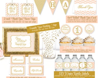 PRINTABLE Party Pack - First 1st Birthday Girl Gold Peach Banner Cupcake Topper Bottle Labels Stickers Wraps Food Tents Favor Tags - Big One