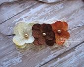 Brown headband, tan headband, beige, brown and orange headband, thanksgiving headvand, baby's first thanksgiving, fall headband