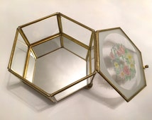 Unique Vintage Brass Glass With Mirrored Bottom Hexagonal Jewelry Case With Hinged Lid Hexagon Flower Print Great Condition