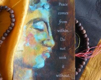 "Postcard Buddha ART ""Inner Peace"""