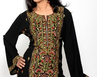 Black Crape Full Over Embroidery   Stylish Tops