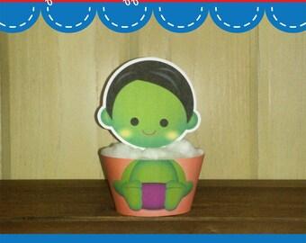 Printable Digital PDF File - Cupcake Wrappers Superhero Baby Boy H 1