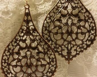 Copper Filigree Earrings, Copper Boho Earrings, Bohemian Earrings