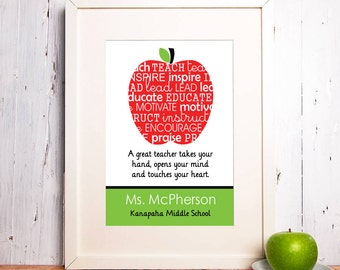 Teacher Gift - Teacher Print - Apple Teacher - Christmas Teacher Gift
